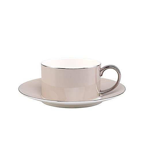 Juego de tazas de café europeas de cerámica creativa taza de café y platillo, taza de té para la tarde en casa, oficina, taza de agua de porcelana (azul, 1 taza, 1 platillo), color gris