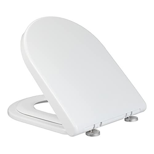 Relaxdays Klobrille mit Kindersitz, BxT 36 x 46 cm, Soft Close, Quick Release, Duroplast, D-Form Toilettendeckel, weiß