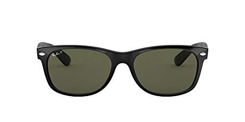 Ray-Ban RB2132 New Wayfarer Polarized Sunglasses, Black/Polarized Green, 55 mm
