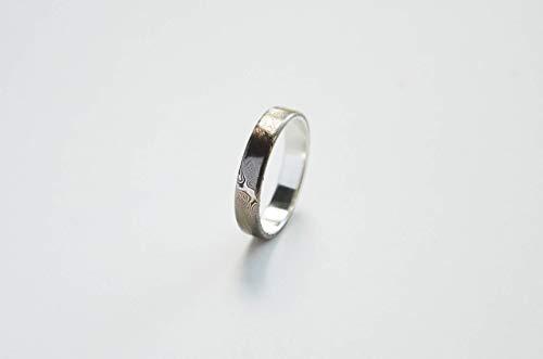 Mokume-Gane Ring Herren, Mokume Gane Ring Damen. Mokume-Gane und Silber Ring. Ehering, Trauring, Hochzeitsring