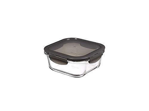 LocknLock Oven Glass Glas Frischhaltedose mit Deckel 750ml, 155 x 155 x 69mm, Viereckig, Kühlschrank-, gefriertruhen- und spülmaschinengeeignet, Borosilikat-Glas bis 400°C ofen- & mikrowellenfest