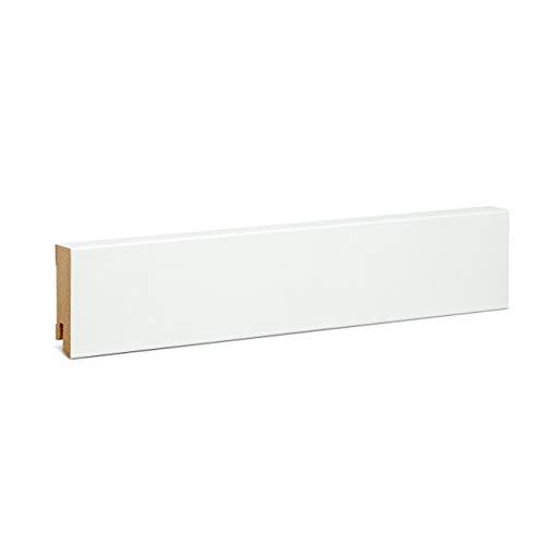 KGM Sockelleiste weiß 60mm | Modern Fussleiste weiss ✓MDF Leiste ✓für PVC Vinyl & Laminat ✓weiße Leisten✓unsichtbare Clip Montage |gerade Sockelleisten 19x60x2500mm