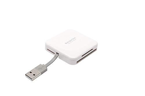 PNY Lecteur de carte mémoire USB 2.0 All in One pour carte mémoire multimédia, carte SD, Carte micro SD, Compact Flash, blanc