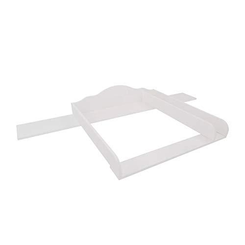 Puckdaddy Wickelaufsatz mit Blende Noah – 160x80x15 cm, Wickelauflage aus Holz in Weiß, hochwertiger Wickeltischaufsatz mit Trennfach passend für alle IKEA Hemnes Kommoden, inkl. Wandbefestigung