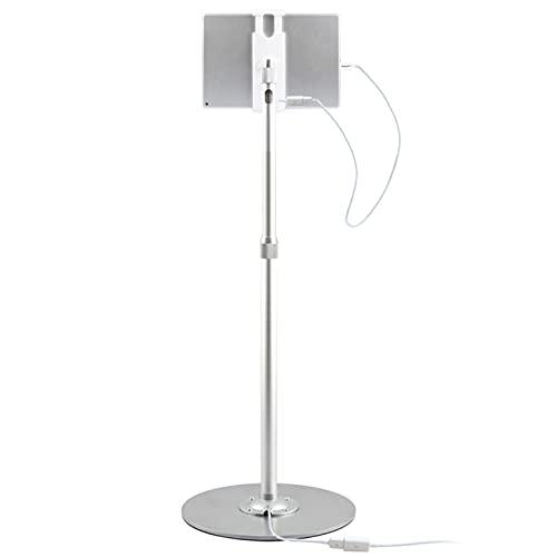 LAHappy Soporte de Suelo para iPad, con Cable de Carga y Base Estable, Altura Ajustable, Soporte de Pie para Tablet de 3,5 – 13 Pulgadas
