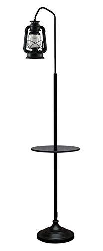UWY Linterna con estantes de Madera Lámpara de pie, Lámpara de pie Retro de Metal para Sala de Estar, Lámpara de Lectura para Dormitorio de Oficina Lámpara de pie Led (165 cm), Lámparas de pie