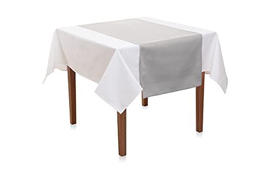 Hans-Textil-Shop Camino de mesa de 45 x 145 cm, poliéster, fácil de limpiar, fácil de planchar, fabricado en Europa, envío desde Alemania (gris claro)