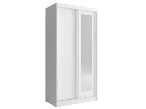 Furniture24 Schwebetürenschrank Alaska 100, Kleiderschrank, Schrank, Schiebetür, Schlafzimmerschrank mit Schubladen, Kleiderstange, Einlegeboden und Spiegel (Weiß)