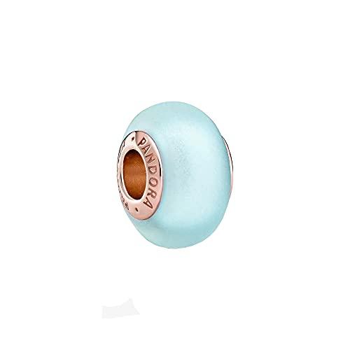 Pandora Abalorio de cristal de Murano azul mate en oro rosa con aleación de metal chapado en oro rosa de 14 quilates de Pandora Moments Collection, 13,6 x 13,6 x 8,6 mm