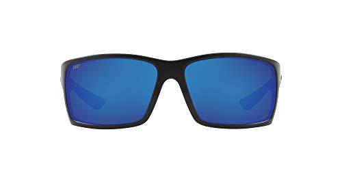 Costa Del Mar Men's Reefton Polarized Rectangular Sunglasses, Blackout/Blue Mirrored Polarized-580P, 64 mm