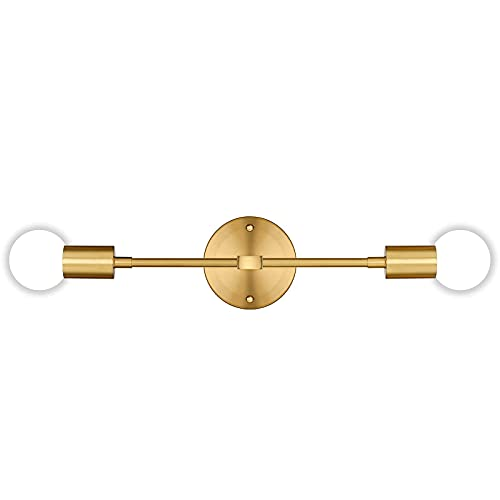 2-Light Vanity Light Fixtures, Gold Bathroom Wall Sconce Mid Century Modern Wall Mounted Lamp Brushed Brass Sconce Indoor Vintage Wall Lighting for Mirror Hallway Kitchen Bedroom Living Room