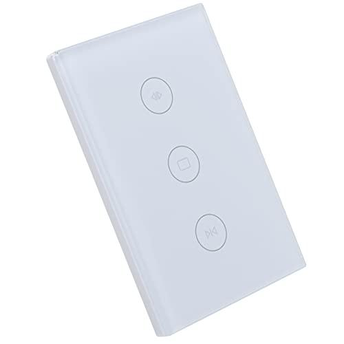 Control de cortina WiFi, interruptor táctil WIFI, enchufe de EE. UU, Interruptor de cortina WiFi, tiempo de encendido/apagado 110-240 V para edificio de oficinas(blanco)