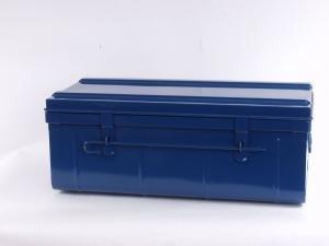 Tropenkiste Transportkiste blau 70 x 37 x 29 Werkzeugkiste Lagerkiste Blechkiste