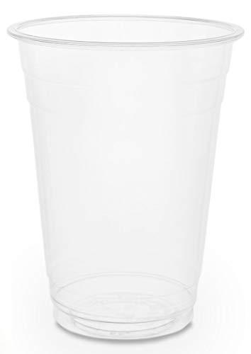 Plantvibes ® 50 transparente Bio Einwegbecher, 100% kompostierbar & biologisch abbaubar, stabile Trinkbecher perfekt als Partybecher für Kaltgetränke, Bio Einweg-Geschirr, Bio Plastikbecher