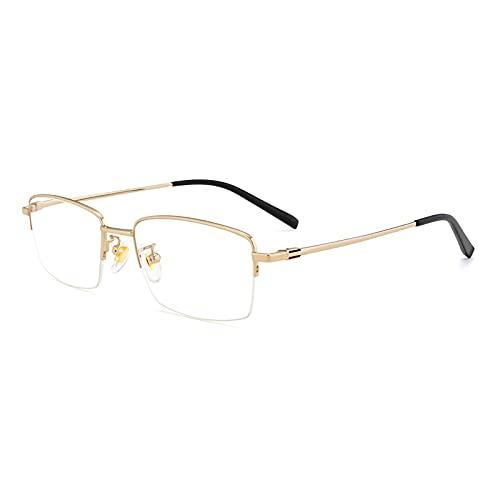 HQMGLASSES Gafas De Lectura De Ordenador De Montura Completa para Hombres Gafas De Bloqueo De Luz Azul Gafas De Titanio Puro Ligeras Juegos Ojos UV Lectores Tensión Anteojos,Oro,+3.00