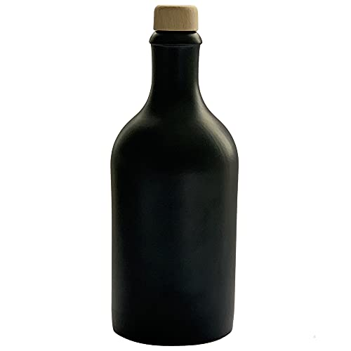 Ölflasche 500 ml Ölspender Steingut Schwarz mit Ausgießer Flasche Made in Germany