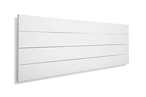 SUENOSZZZ-ESPECIALISTAS DEL DESCANSO Cabecero de Cama de Madera TREVINCA Color Blanco para Pared. Cabecero de Tablas Horizontales. Estilo Vintage, para Camas de 150