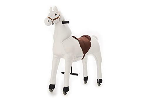 Animal Riding Reitpferd Snowy X-Large (für Kinder ab 8 Jahren, Farbe weiß, Sattelhöhe 80 cm, mit Rollen) ARP011L