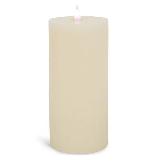 Roman 140026 LED Rustic Pillar Flameless Candle, 8 inches Height, Ivory