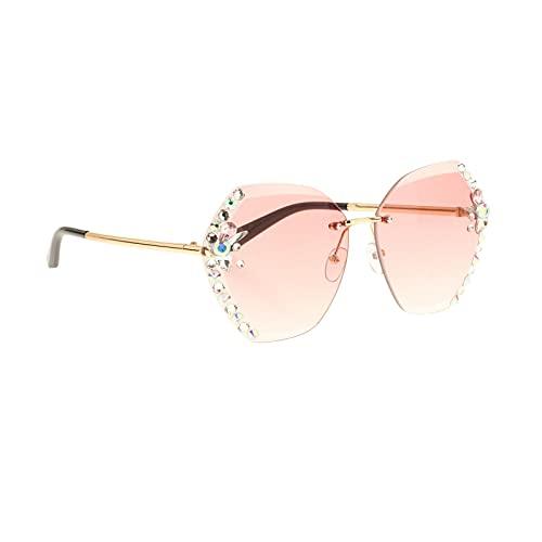 Sharplace Gafas de Sol para Mujer, diseño de Cristal de Lujo Brillante, Lente de Corte, protección UV 400, Gafas de Sol con Diamantes de imitación, Gafas de - Rosa