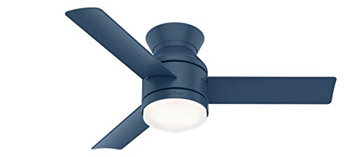 """Hunter Dublin Low Profile Indoor Ceiling Fan with LED Light and Remote Control, 44"""", Indigo Blue"""