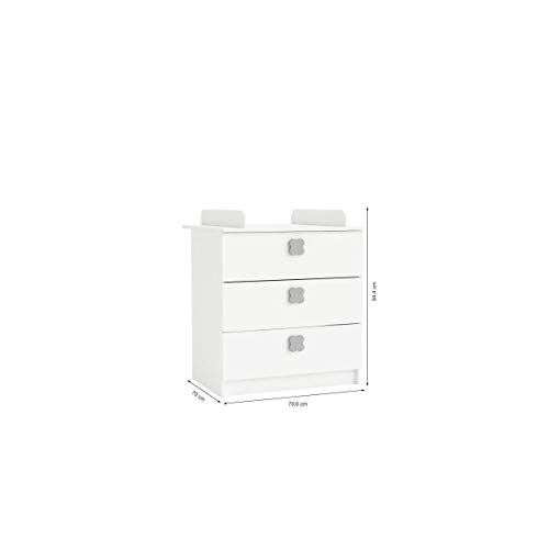 CLOVER Commode a Langer 3 Tiroirs Coloris Blanc Perle