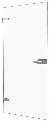 """inova Glas-Drehtür 834x1972x8mm Klar-Glas DIN Links + Studio-Beschlag """"03"""" Komplettset Echtglas Glastür Wohnungstür"""