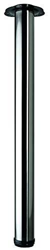 Hettich 9219875 Tischbein-Set (Möbelfuß, Tischfuß) -höhenverstellbar, Belastbarkeit: 100kg-Stahl, Länge: 700/730mm, 4 STK, Edelstahl Optik