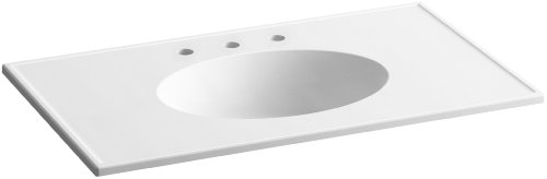 KOHLER K-2798-8-G81 Ceramic/Impressions 37-Inch Oval Vanity-Top Bathroom Sink with 8-Inch Centerset Faucet Holes, White Impressions