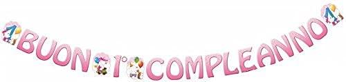FESTONE scritta Buon 1 Compleanno ROSA in carta con orsetto - 400x22cm - ghirlanda decorazione - per decorazioni addobbo tavola per feste, party primo compleanno bimba bambina