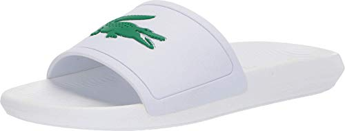 Lacoste Croco Slide Sandalia para Hombre, Blanco/Verde, 7 US