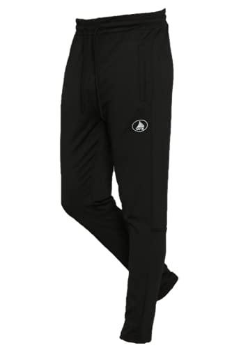 WAELZE Men's Track Running Sport Athletic Pants. Elastic Waist. (L, Black)