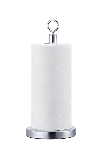 SunnyPoint Heavy Weighted Sturdy Paper Towel Holder Stand Dispenser with Stainless Base Fits Standard and Jumbo Sized Paper Towel, Chrome