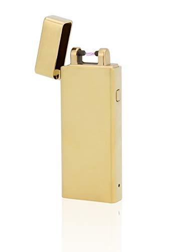 TESLA Lighter TESLA Lighter T04 Lichtbogen Feuerzeug, Plasma Single-Arc, elektronisch wiederaufladbar, aufladbar mit Strom per USB, ohne Gas und Benzin, mit Ladekabel, in edler Geschenkverpackung Gold Gold