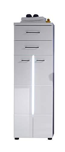 trendteam smart living Badezimmer Hochschrank Schrank Nightlife, 43 x 128 x 31 cm in Weiß Hochglanz mit Frontbeleuchtung