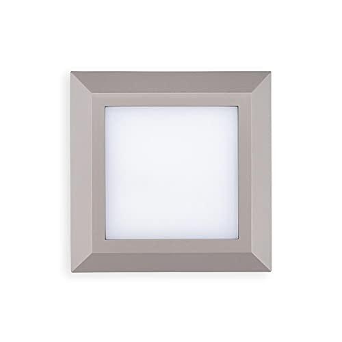 POPPBalizas LED gris exterior 3.8W IP65 lámparas led empotrables de pared iluminacion escalera led escalera empotrables Pack 1,2,5,10 Unidad(Pack 10)
