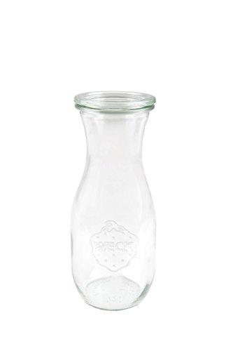 6 Weck Einkochgläser 1/2 Liter Saftflasche RR60 mit Glasdeckel, Ringen und Klammern im Original Weck Karton (Mit Glasdeckel, Ringen und Klammern)