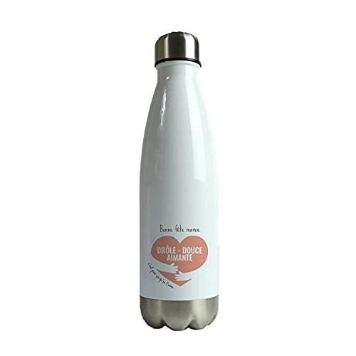 Bouteille isotherme en inox personnalisable - Coeur - 500ml, gourde thermos en acier inoxydable, facile à nettoyer