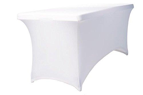 Expand Tischhusse, Tischcover Weiß - Tisch Husse, Cover als Tischdecke - 170cm bis 200cm - Geschlossen - Stretch
