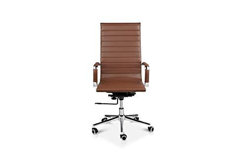 LIFA LIVING Bürostuhl aus Büffelleder in Cognac, Klassischer Drehstuhl aus Leder, Schreibtischstuhl aus Echtleder mit Rollen, max. Tragfähigkeit: 150 kg