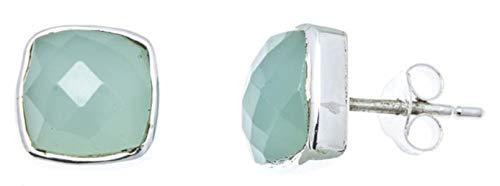 CHICNET Damen Ohrstecker Aqua Calcit Quadrat 8mm 925 Sterlingsilber Rand facettiert gewölbt hellblau