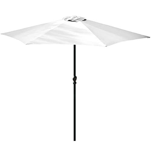 Sombrilla con manivela, para playa, jardín, mercado, terraza, balcón, funda protectora, diámetro de 270 cm, protección UV50+, color blanco