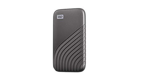 WD My Passport SSD externe Festplatte 2 TB mit NVMe-Technologie, USB-C, Lesegeschwindigkeiten von bis zu 1050 MB / s und Schreibgeschwindigkeiten von bis zu 1000 MB / s - Space grey