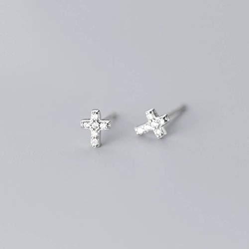 TYERY Pendientes de Plata S925, Cruz Pequeña de Estilo de Moda Coreana Femenina con Pendientes de Diamantesplata, Plata 925