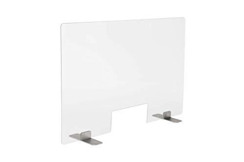 PlexiDirect Spuckschutz aus Acrylglas mit Durchreiche, Plexiglas Schutzwand, Hustenschutz, Edelstahl-Bein, 60 x 75 cm (BxH)