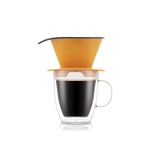 BODUM K11872-449SSA-Y21 POUR OVER Gotero de café y taza doble pared, 0,3l