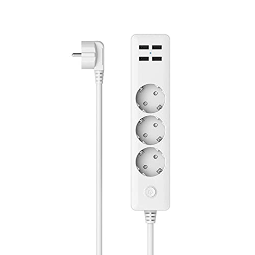 QREZ Regleta Enchufes, Regleta Múltiple De 3 Enchufes 4 Enchufes USB Toma De Corriente con Protección contra Sobrecargas Y Interruptores 2500W 17W 5V 2.3A 1.8M para Teléfono Hogar Oficina, Blanco