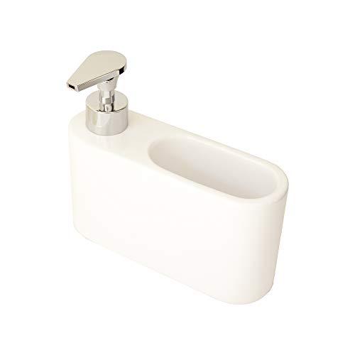KOOK TIME Dispensador jabón Cocina Blanco - jabonera Cocina con Guarda estropajos Fregadero - Apto para Cocina o como dosificador baño con Esponja - Cerámica Color Blanco - 18 x 6 x 15.5 cm