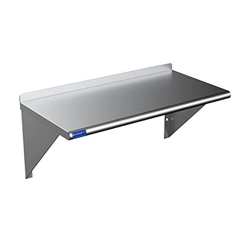 "18"" X 30"" Stainless Steel Wall Shelf | Metal Shelving | Garage, Laundry, Storage, Utility Room | Restaurant, Kitchen | Food Prep | NSF Certified"