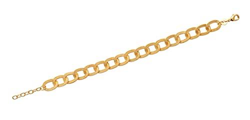 Tata Gisèle - Pulsera chapada en oro de 18 quilates, colgante compuesto de 17 anillos grandes entrelazados, bolsa de terciopelo de regalo